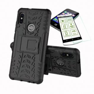 Für Xiaomi Redmi Note 5 Hybrid Tasche Outdoor 2teilig Schwarz + H9 Glas Cover