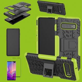 Hybrid Tasche Etuis Hülle Grün für Samsung Galaxy S10 Plus + 4D H9 Curved Glas
