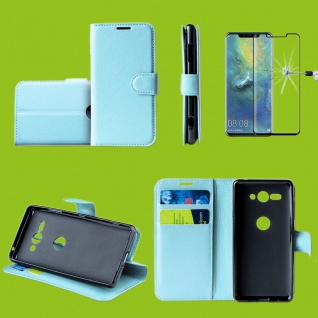 Für Huawei P30 Tasche Wallet Blau Hülle Etuis Cover + H9 4D Curved Hart Glas Neu