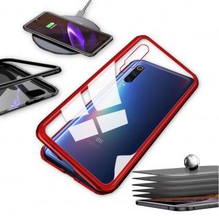 Für Xiaomi Mi 9 Lite Magnet Metall Glas Transparent / Rot Tasche Hülle Etuis Neu