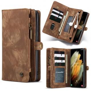 Handy Tasche für Samsung Galaxy S21 CaseMe Geldbeutel + Etui Hülle Braun