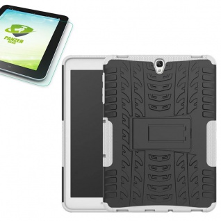 Hybrid Outdoor Tasche Weiß für Samsung Galaxy Tab S3 9.7 T820 + 0, 4 Hartglas
