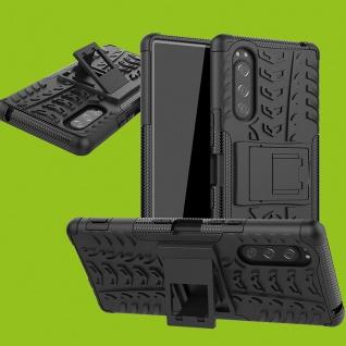 Für Sony Xperia 5 1. Gen Hybrid 2teilig Outdoor Schwarz Tasche Etuis Hülle Cover
