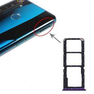 Für OPPO Realme 5 Pro SIM + SIM Card Tray Karten Halter + Micro SD Lila Ersatz