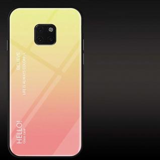 Für Huawei Mate 20 Pro Color Rainbow Effekt Glas Cover Gelb Tasche Hülle Etui