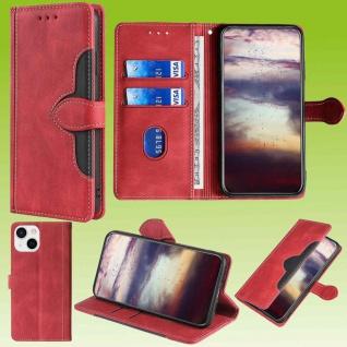 Für Apple iPhone 13 Mini Design Handy Tasche Rot Etuis Schutz Kunst-Leder Hülle