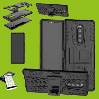 Für Sony Xperia 1 6.5 Zoll Hybrid Case Schwarz Hülle + 0, 3 mm H9 Glas Tasche Neu