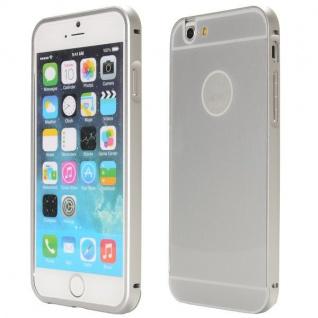 Alu Bumper 2 teilig mit Abdeckung Silber für Apple iPhone 6 Plus Tasche Hülle
