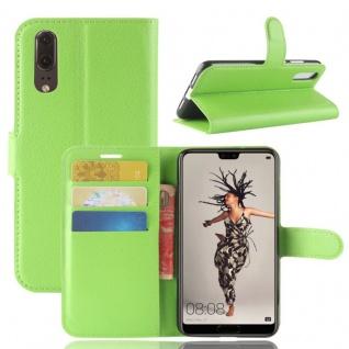 Tasche Wallet Premium Grün für Huawei P20 Hülle Case Cover Schutz Etui Schale