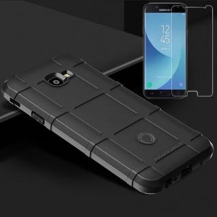 Für Samsung Galaxy J4 Plus J415F Tasche Shield Silikon Hülle Schwarz + H9 Glas