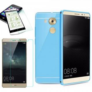 Alu Bumper 2 teilig Blau + 0, 3 mm H9 Panzerglas für Huawei Mate 8 Tasche Case