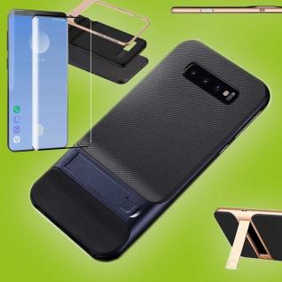 Standing Hybrid Tasche Blau Etui für Samsung Galaxy S10 Plus + 4D H9 Curved Glas