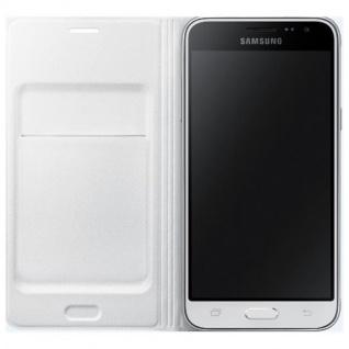 Samsung Flip Wallet Tasche Hülle Kunstleder EF-WJ320 für Galaxy J3 2016 weiß