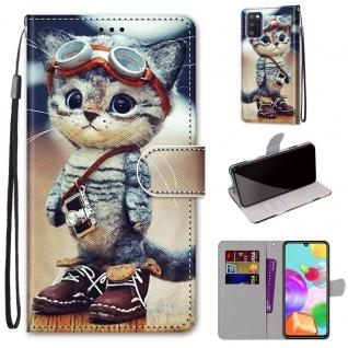 Für Samsung Galaxy A41 Kunstleder Handy Tasche Book Motiv 4 Hülle Case Etuis