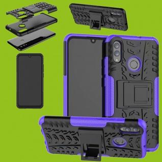 Für Huawei P Smart / Plus 2019 Hybrid 2teilig Outdoor Lila Tasche Hülle Etuis
