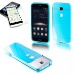 Alu Bumper 2 teilig Blau + 0, 3 mm H9 Panzerglas für Huawei G8 5.5 Tasche Cover