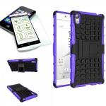 Hybrid Case 2 teilig Lila für Sony Xperia Z5 5.2 Zoll + 0, 3 H9 Hartglas Tasche