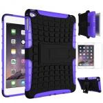 Hybrid Outdoor Schutzhülle Lila für iPad Mini 4 Tasche + 0.3 H9 Panzerglas Case