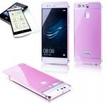 Alu Bumper 2 teilig Rosa + 0, 3 H9 Hartglas für Huawei P9 Tasche Case Hülle Neu