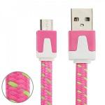 1m USB Daten und Ladekabel Pink für alle Smartphone und Tablet Micro USB Zubehör