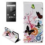 Schutzhülle Muster 2 für Sony Xperia Z5 5.2 Zoll Bookcover Tasche Hülle Case Neu