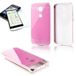 Alu Bumper 2 teilig Rosa + 0, 3 mm H9 Hartglas für Huawei G8 5.5 Tasche Cover