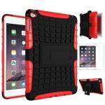 Hybrid Outdoor Schutzhülle Rot für iPad Mini 4 Tasche + 0.3 H9 Hartglas Case
