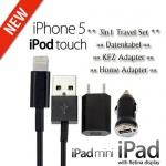 3in1 Ladeset BOX Schwarz für Apple iPhone 5 5S 5C iPod Touch 5G Nano 7 Kabel Neu