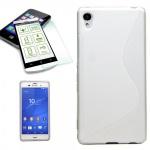 Silikoncase Weiß Tasche Hülle + 0, 3 H9 Hartglas für Sony Xperia Z3 Plus + Dual