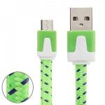 2m USB Daten und Ladekabel Grün für alle Smartphone und Tablet Micro USB Zubehör