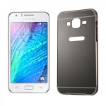 Alu Bumper 2 teilig Abdeckung Schwarz für Samsung Galaxy J1 Hülle Case Tasche