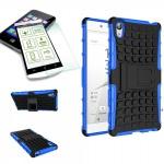 Hybrid Case 2 teilig Blau für Sony Xperia Z5 5.2 Zoll + 0, 3 H9 Hartglas Tasche
