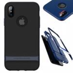 Original ROCK Silikon Case Tasche Schwarz / Navy für Apple iPhone X / 10 Hülle