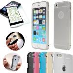 Alu Bumper 2 teilig Silber + 0, 3 mm H9 Panzerglas für Apple iPhone 6 4.7 Tasche