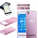 Alu Bumper 2 teilig Rosa + 0, 3 H9 Hartglas für Sony Xperia Z3 Plus E6553 Hülle