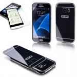 Alu Bumper 2 teilig Schwarz + 0, 3 H9 Hartglas Case für Samsung Galaxy S7 G930F