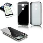 Alu Bumper 2 teilig Schwarz + 0, 3 mm H9 Hartglas für Huawei G8 5.5 Tasche Case