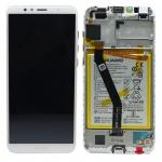 Huawei Display LCD Rahmen für Y6 2018 Service Pack 02351WLK Weiß Batterie Ersatz