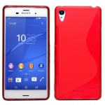 Silikoncase S-Line Rot Hülle Tasche Zubehör für Sony Xperia Z3 Plus + / Dual Neu