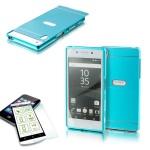 Alu Bumper 2 teilig Blau + 0, 3 H9 Hartglas für Sony Xperia Z5 5.2 Zoll Tasche