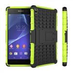 Hybrid Case 2teilig Robot Grün Tasche Hülle für Sony Xperia Z3 Plus E6553 / Dual