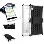 Hybrid Case 2 teilig Weiß für Sony Xperia Z5 5.2 Zoll + 0, 3 H9 Hartglas Tasche