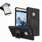Hybrid Case Tasche Outdoor 2teilig Schwarz für Huawei P9 + H9 Panzerglas Cover