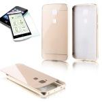 Alu Bumper 2 teilig Gold + 0, 3 mm H9 Hartglas für Huawei G8 5.5 Tasche Cover