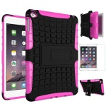 Hybrid Outdoor Schutzhülle Pink für iPad Mini 4 Tasche + 0.3 H9 Hartglas Case