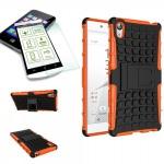 Hybrid Case 2 teilig Orange für Sony Xperia Z5 5.2 Zoll + H9 Hartglas Tasche