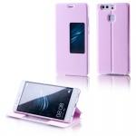 Booktasche Flip Window Rosa für Huawei P9 Plus Tasche Smart Cover Hülle Wake UP