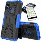 Für Xiaomi MI A2 / Mi 6X Hybrid Tasche Outdoor 2teilig Blau Hülle + 0, 26 H9 Glas