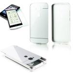 Alu Bumper 2 teilig Silber + 0, 3 mm H9 Panzerglas für Huawei G8 5.5 Tasche Cover