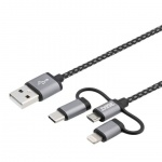 3in1 Datenkabel Ladekabel Lightning Micro USB 1 Meter Stoff Charge Sync Cable